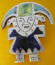VINTAGE PERUVIAN SILVER ENAMEL BROOCH PIN FIGURE GOD WARRIOR 925