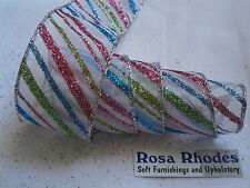 CHRISTMAS WIRE EDGED RIBBON -  SILVER ORGANZA WITH MULTI COLOURED STRIPES
