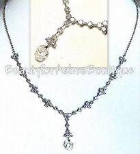 BFA Bridesmaid Princess Clear Cz Crystal Lariat Gala Glitzy Glam Prom Necklace