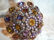 Lavender Pearls Pin / Brooch Exquisite Joan Rivers Crystal & Faux