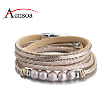 Fashion Women Multi-layer Leather Magnetic Wrap Cuff Charm Bracelet Jewelry Gift