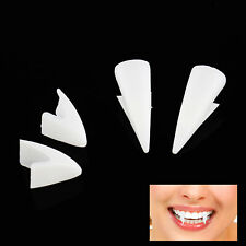 WHITE VAMPIRE DRACULA FANGS CAPS TEETH FANCY DRESS WITH PUTTY ADHESIVE HALLOW