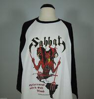 SABBAT Splattered w/ Evil Raglan ANVIL Tee 3/4 black sleeves 2XL R.I.P. Records