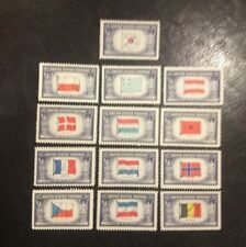 Axis OVERRUN COUNTRIES From World War 2. US Unused Stamps from the 1940's.