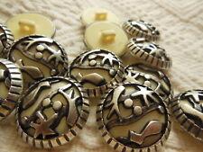 lot 6 gros  boutons beige argent ajouré pied couture 2,7  cm