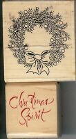 Lot of 2 Rubber Stamp AS4803 & F-2304 Christmas Wreath & Saying B3
