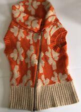 Moda International asymmetrical Zip front Sweater Vest Sz Med Orng Print (p1)