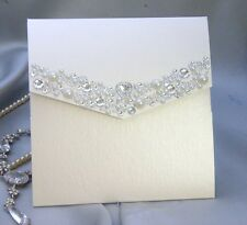 wedding invitation pocket style handmade with pearl & diamanté trim (ruth)