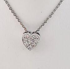 "18k WHITE GOLD 0.18 TCW DIAMOND HEART PENDANT NECKLACE 16"" INCH."
