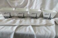 """4 Ciroa Square Porcelain 3 7/8"""" Dessert Bowls Paris Eiffel Tower"""