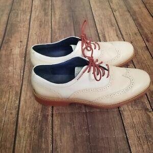 Cole Haan Great Jones Wingtip Oxford Shoes Mens Beige Size 11.5