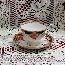 ANTIQUE ROYAL ALBERT CROWN CHINA WEMBLEY FOOTED CUP & SAUCER COBALT BLUE RUST