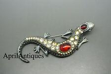 Vintage Sphinx black-tone red cabochon glass rhinestone Lizard brooch