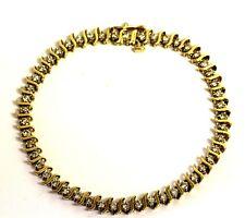 "14k yellow gold 1.96ct SI2 I diamond S link tennis bracelet 10.5g 7 1/4"" vintage"