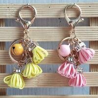 UK Hot Rose Flower Tassel Keyring Keychain Charm Pendant Bag Purse Car Key Chain