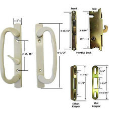 Glass Patio Door Handle Kit Mortise Lock & Keepers, B-Position, Beige, Non-Keyed