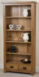 Cotswold Large Rustic Solid Oak Bookcase | Dark Wood Bookcase with Storage