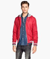H&M Nylon Red Baseball Jacket Hooded Medium Glanz Sexy Gently Used
