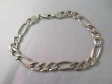 Figaro Chain Bracelet Vintage Sterling Silver Classic
