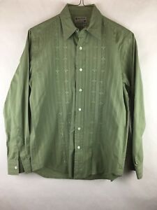 Lucky Brand Men's Size XS Shirt Button Down Vintage Western Look Green Embroider