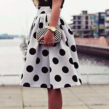 Autumn Winter Women Midi Skirt Polka Dot Retro Casual Puff Skirts Party Dress