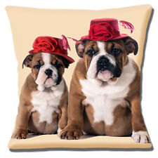 """YOUNG ENGLISH BULLDOG & PUPPY WEARING RED HATS ON CREAM 16"""" Pillow Cushion Cover"""