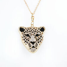 COLLIER Femme SAUTOIR CHAINE PENDENTIF TETE PANTHERE DORE OR STRASS ZAZA2CATS
