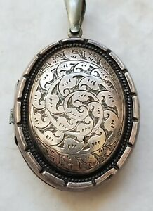 VICTORIAN EDWARDIAN HAND CHASED SILVER PHOTO LOCKET (#429)