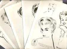 5 phot. 24x18 - MODE Vintage Années 50 - Salon Haute COIFFURE Française 1957