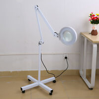 5x Diopter Rolling Floor Stand Magnifier Lamp Glass Magnifying Facial Adjustable