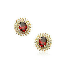 18K ROSE GOLD PLATED GENUINE RUBY RED CZ & AUSTRIAN CRYSTAL STUD OVAL EARRINGS