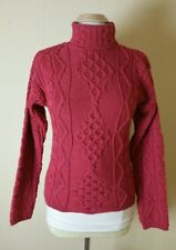 Inis Crafts Sweater Sz S Mauve Wool Aran/Fisherman/Cable Knit Made in Ireland