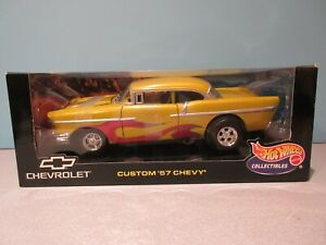 NEW 1:18 Scale Gold Custom 1957 Chevrolet with Red Flames By HOT WHEELS