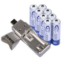 8x AA 2A 3000mAh 1.2 V Ni-MH BTY Rechargeable Battery Cell + AA AAA USB Charger