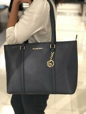 Michael Kors Leather Sady Large Multifunction Top Zip Tote Bag Navy