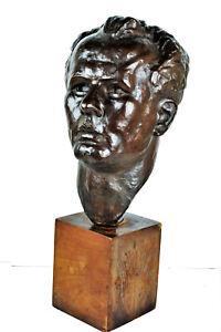Marina Núñez del Prado, Head, Patinated Bronze Sculpture, 1930s