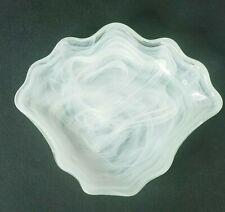 Art Glass Deco Seashell Green and white Swirl Soap Dish!