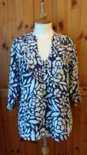 M&S size UK 16 100% pure linen navy & white blouse
