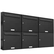5er Premium Wand Briefkasten Anthrazit RAL 7016 5 Fach A4 Postkasten design A4