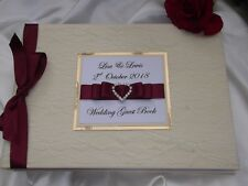 PERSONALISED CREAM LACE COVERED WEDDING GUEST BOOK HANDMADE IN THE UK ~ BOXED