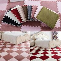 6Pcs/Set Fluffy Jigsaw Foam Puzzle Rug Anti-Skid Bedroom Area Carpet Floor Mat