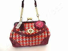 New Authentic Coach  Pink Houndstooth & Suede Kisslock Small Baguette Purse