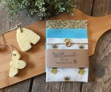 Natural Beeswax Wraps Set Of 3 -Allergy Free Eco Sandwich/Cheese Wax Wraps
