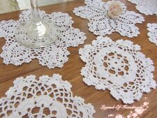 LOT~12Pcs~Hand Crochet Lace Doily/Cup Coaster~White~Snowflake&Star~Wedding/DIY~