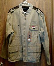 NWT Rocawear Classic Sport-Roc Tan & Brown Canvas Jacket 2XL/46 100% Cotton