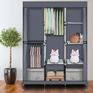 Canvas Material Wardrobe Storage Large Fabric Portable Dust Proof Cover UK