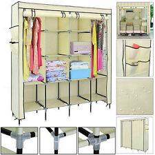 Triple Canvas Wardrobe Hanging Clothes Rail Storage Fabric Rack Shelves Cupboard