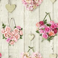 Vintage Hearts Pink Rose Flowers on Wood Panel Wallpaper A14503