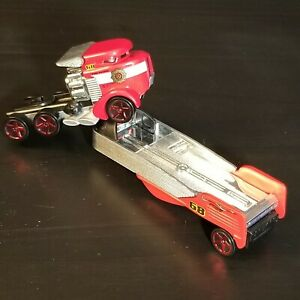 2014 Mattel Hot Wheels Sky Show Fire Patrol Rig - Red Semi Tractor With Trailer