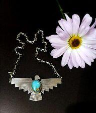 Navajo  TURQUOISE Sterling Silver Necklace Pendant H Joe Zuni Eagle
